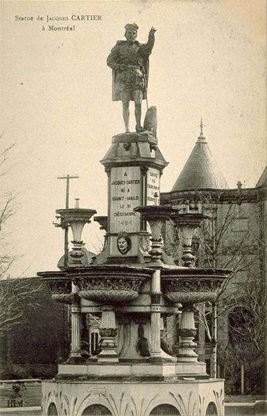 carte postale ancienne _monument_JCartier_Montréal